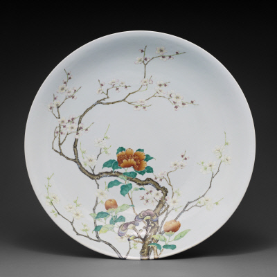 Dish with design of camellia and flowering plum