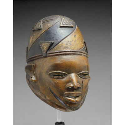 Gelede Mask: Male with Skull Cap