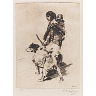 Native Girl and Dog